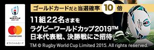 期間中5,000円(税込)以上のご利用でラグビーワールドカップ2019™の観戦ペアチケットが11組22名さまに当たる!さらに外れた人にもWチャンス!ノベルティグッズが抽せんで200名さまに当たる!